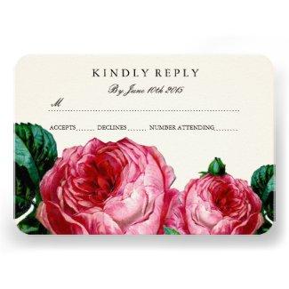Vintage Pink Rose RSVP Cards