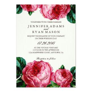 "VINTAGE FLORAL DECOUPAGE WEDDING INVITATION 5"" X 7"" INVITATION CARD"