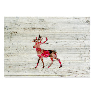 Vintage Floral Deer Gray Retro Wood Photo Print Business Cards