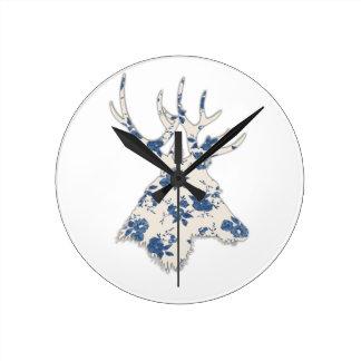 Vintage Floral Deer Head Round Clock