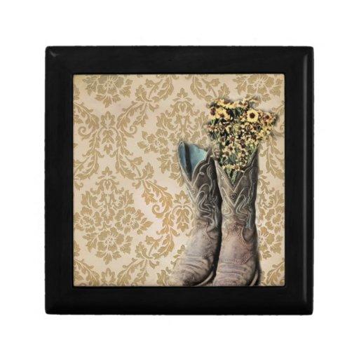 Vintage floral del damasco del país elegante caja de joyas