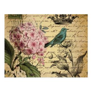 vintage floral del pájaro femenino elegante lament postal