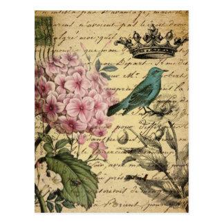 vintage floral del pájaro femenino elegante postal