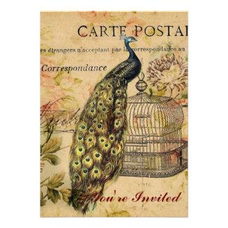 vintage floral del pavo real de moda femenino anuncios personalizados