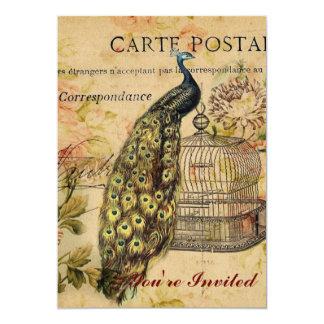 """vintage floral del pavo real de moda femenino invitación 5"""" x 7"""""""