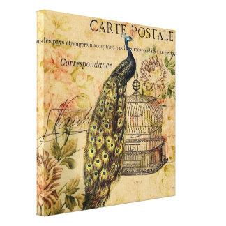 vintage floral del pavo real de moda femenino impresión en lona