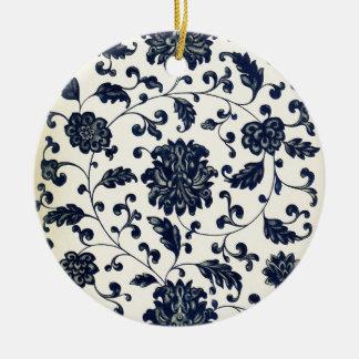 Vintage floral design ceramic ornament