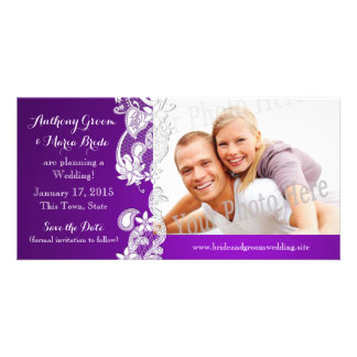 Vintage Floral Design Purple Save the Date Photo Card