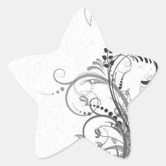 Vintage floral design star sticker