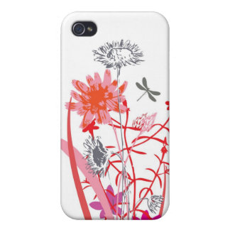 vintage floral design with dragonfly iPhone 4/4S cover