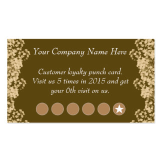 Vintage Floral Discount Promotional Punch Card Double-Sided Standard Business Cards (Pack Of 100)