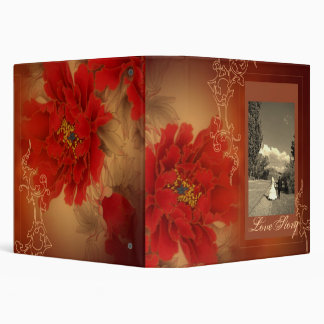 vintage floral  Double Happines Chinese Wedding 3 Ring Binder