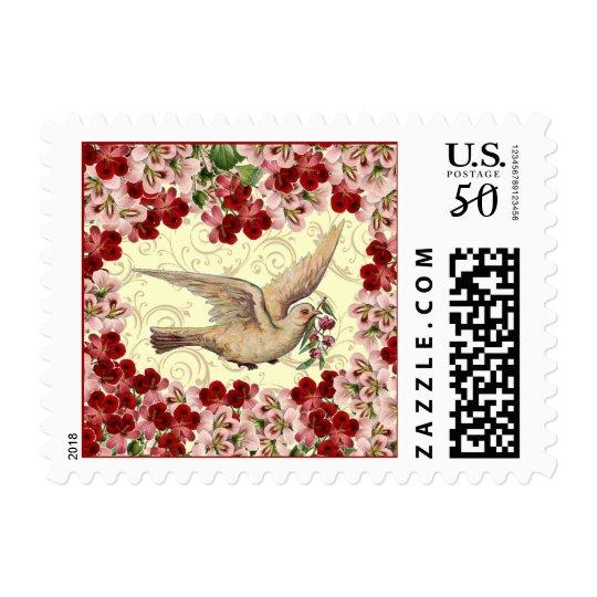 Vintage Floral Dove Postage