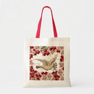 Vintage Floral Dove Tote Bag
