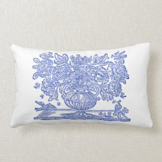 Vintage Floral Drawing featuring griffins Lumbar Pillow