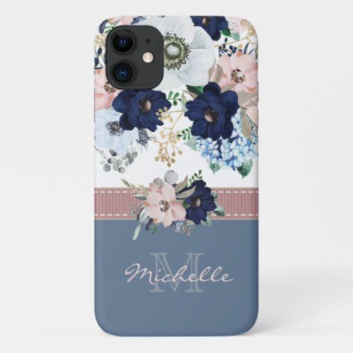 Vintage Floral Dusty Blue Pink Rose Monogram Name iPhone 11 Case