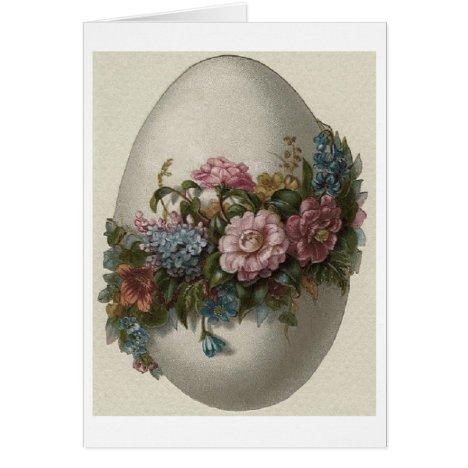 Vintage Floral Easter Egg! Vintage Easter Card