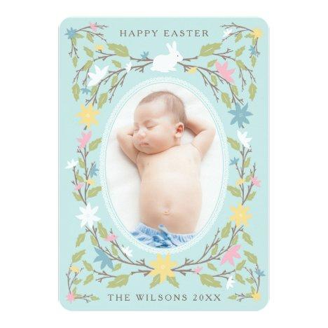 Vintage Floral Easter Photo Card