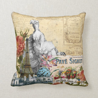 Vintage Floral Eiffel Tower Marie Antoinette Roses Throw Pillow