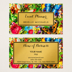 Vintage Floral Elegant Faux Gold Event Planner Business Card at Zazzle
