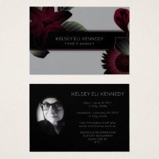 vintage floral elegant funeral business card