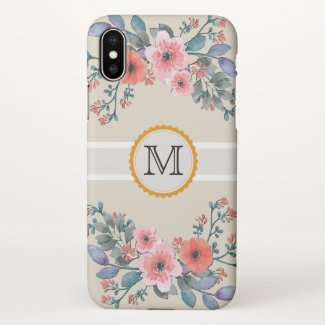 Vintage Floral Elegant Monogram iPhone X Case