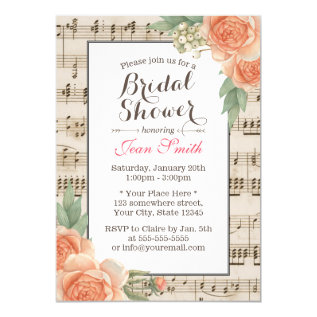 Vintage Floral Elegant Musical Bridal Shower Card at Zazzle