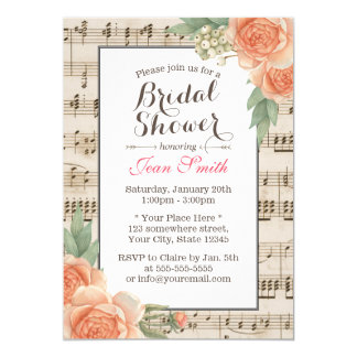 Vintage Floral Elegant Musical Bridal Shower Card