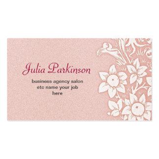 Vintage floral elegante rosado del toldo tarjetas de visita