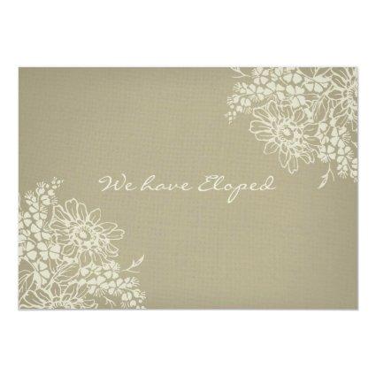 """Vintage Floral Elopement Announcement Cards 5"""" X 7"""" Invitation Card"""