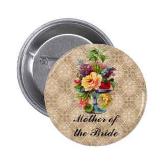 Vintage floral Embossed effect name button badges