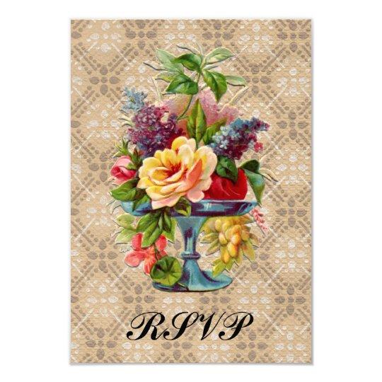 Vintage floral Embossed effect Rsvp wedding slips Card