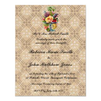 Vintage floral Embossed effect wedding invitation