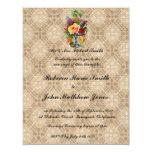 "Vintage floral Embossed effect wedding invitation 4.25"" X 5.5"" Invitation Card"