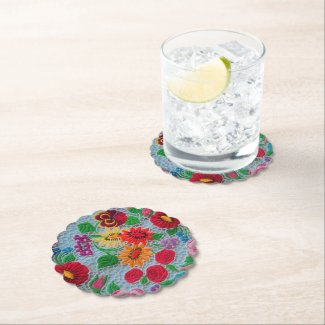Vintage floral embroidery from South Hungary Paper Coaster