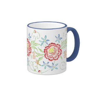 Vintage Floral Embroidery Mug