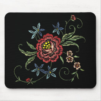 Vintage Floral Embroidery on Velvet Mousepad