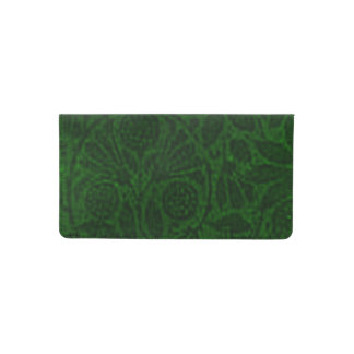 Vintage Floral Emerald Green Flowers Checkbook Cover