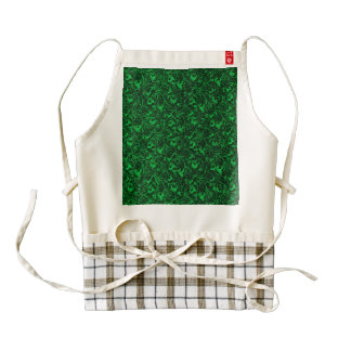 Vintage Floral Emerald Green Flowers Leaves Zazzle HEART Apron