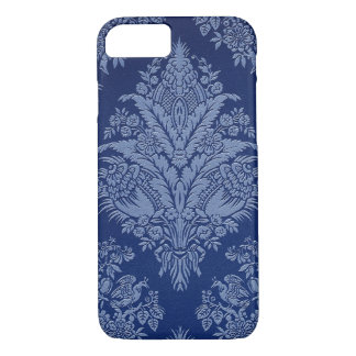 Vintage floral en sombras del azul funda iPhone 7