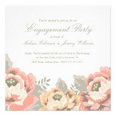 Vintage Floral Engagement Party Invitation