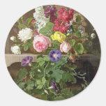 vintage floral etiqueta redonda