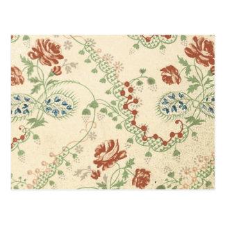 Vintage Floral Fabric (141) Postcard