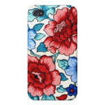 Vintage Floral Fabric Rose Pattern iPhone 4 Case