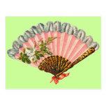 Vintage Floral Fan Postcard