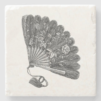 Vintage Floral Fan Stone Coaster