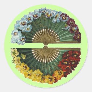 Vintage Floral Fans Sticker