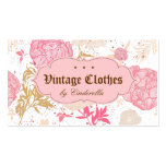 Vintage Floral Fashion Clothing Pink White Cream Business Card Template