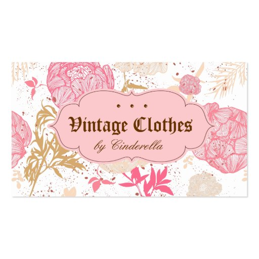 Vintage Floral Fashion Clothing Pink White Cream Business Card