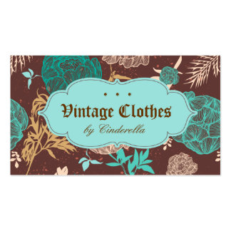 Vintage Floral Fashion Clothing Teal Blue Brown Double-Sided Standard Business Cards (Pack Of 100)